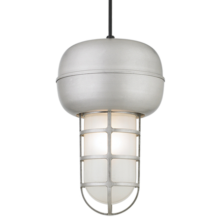 Large fixture in 101 brushed aluminum with frost glass, 8 ft. black cord with 91 black canopy