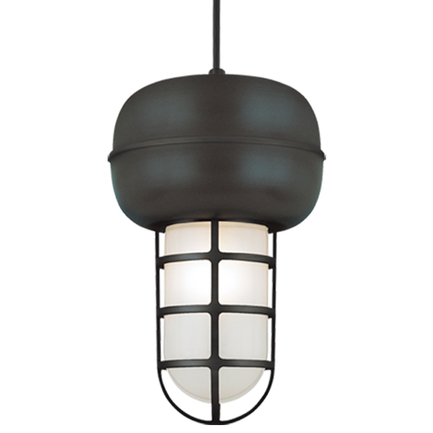 Large fixture in 119 bronze with frost glass, 8 ft. black cord with 91 black canopy