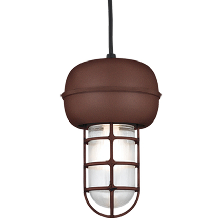 Small fixture in BR47 powder coat rust with clear ribbed glass, 8 ft. black cord with 91 black canop