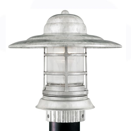 Small fixture in 96 galvanized finish with clear ribbed glass