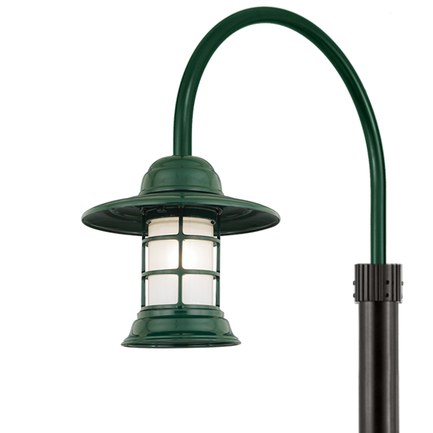 """10"""" shade with frost glass and P-1 post arm in 95 dark green finish"""