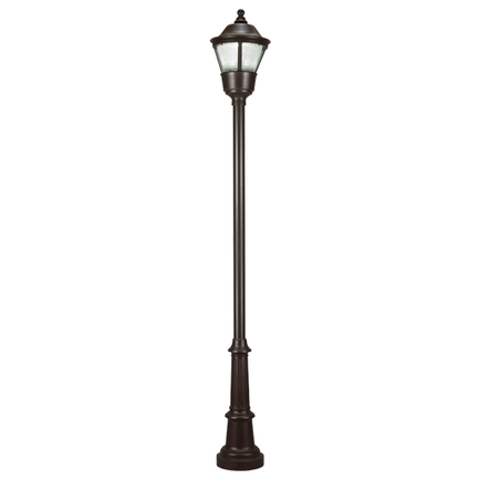 """18"""" fixture, 3"""" width 10' height smooth pole, decorative cast base in 91 black, PLY globe T-5 refact"""