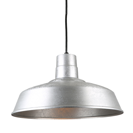 "18"" quick ship classic warehouse shade in 96 galvanized finish with 8ft black cord"