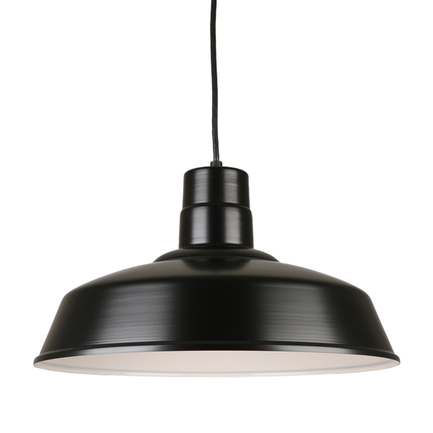 "18"" quick ship classic warehouse shade in black finish and 8ft black cord"