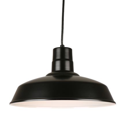 "18"" quick ship classic warehouse shade in 91 black finish and 8ft black cord"