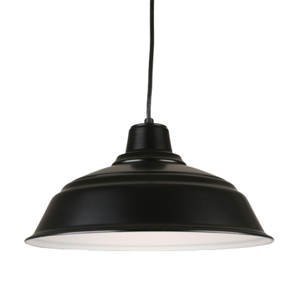 """17"""" quick ship curved warehouse shade in 91 black finish and 8ft black cord"""