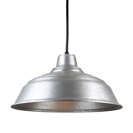 """17"""" quick ship curved warehouse shade in 96 galvanized finish with 8ft black cord"""