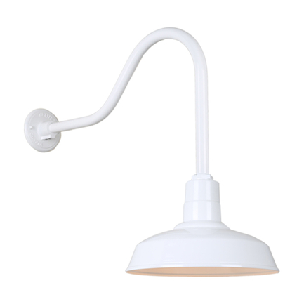 "14"" Quick Ship Classic Warehouse shade in 93 white finish and QSNHL-H arm"