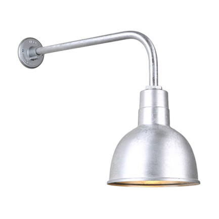 """10"""" quick ship classic deep bowl shade in 96 galvanized finish and QSNB-13 gooseneck arm"""