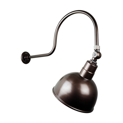 """12"""" quick ship classic deep bowl shade in 145 oil rub bronze finish and QSNHL-C arm and swivel knuck"""