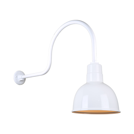 """10"""" quick ship classic deep bowl shade in 93 white finish and QSNHL-C gooseneck arm"""