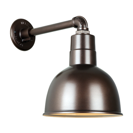 """10"""" quick ship classic deep bowl shade in 145 oil rub bronze finish and QSNB-44 gooseneck arm"""