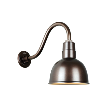"""10"""" quick ship deep bowl shade in 145 oil rub bronze finish  and QSNB-42 gooseneck arm"""