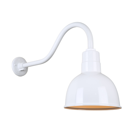 """10"""" quick ship classic deep bowl shade in 93 white finish and QSNHL-A gooseneck arm"""