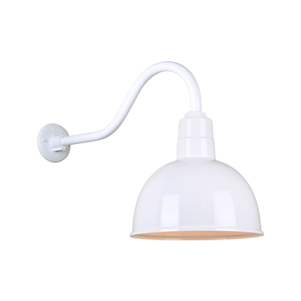 """12"""" quick ship classic deep bowl shade in 93 white finish and QSNHL-A  arm"""