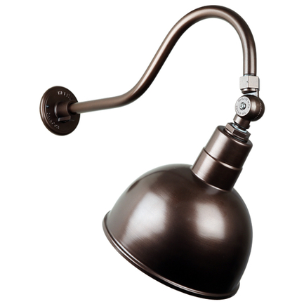 """12"""" quick ship classic deep bowl in 145 oil rub bronze finish and QSNHL-A gooseneck arm with swivel"""