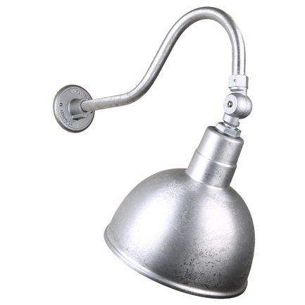 """12"""" quick ship classic deep bowl shade in 96 galvanized finish and QSNHL-A gooseneck arm and swivel"""