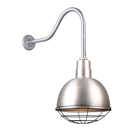 """12"""" quick ship classic deep bowl shade in 96 galvanized finish and QSNHL-H arm with black grill"""