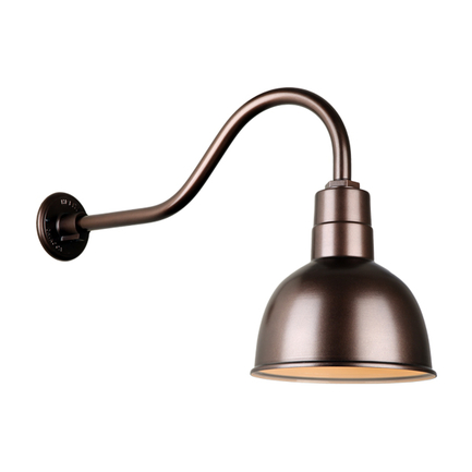 """10"""" quick ship classic deep bowl shade in 145 oil rub bronze finish and QSNHL-A gooseneck arm"""