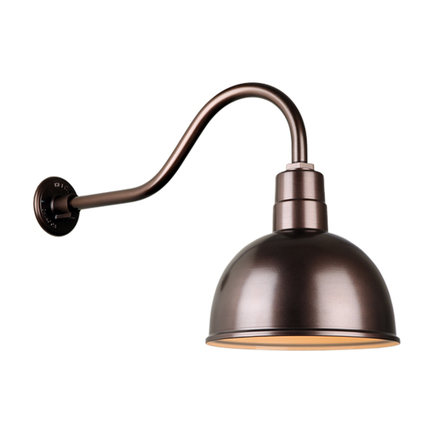"""12"""" quick ship deep bowl shade in 145 oil rub bronze finish and QSNHL-A gooseneck arm"""