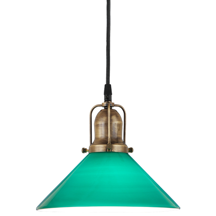 """10"""" green glass with 89 aged brass finish cap and cb 7 cord mounting"""
