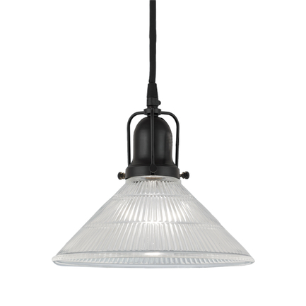 """10"""" clear ribbed glass with 91 black finish cap and cb 7 cord mounting"""