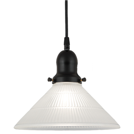 """10"""" frost glass shade,  and 91 black finish cap with cb7 cord mounting"""