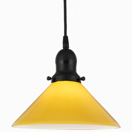"""10"""" yellow glass shade with 91 black finish cap and cb 7 cord mounting"""