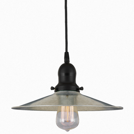 12' shade in 96 galvanized finish with 91 black finish cap, cb8 cord mounting