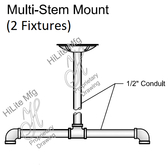 Multi-Stem Mount for 2 Fixtures