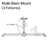 Multi-Stem Mount for 3 Fixtures