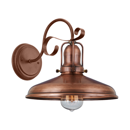 "10"" shade with M-14 arm and BM-1 canopy in 49 weathered copper finish"