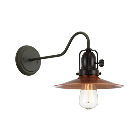 """9"""" shade in 49 weathered copper, M-3 arm, canopy, cap and key in 91 black finish"""