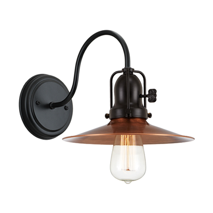 """9"""" shade in 49 weathered copper, M-10 arm, canopy, cap and key in 91 black finish"""
