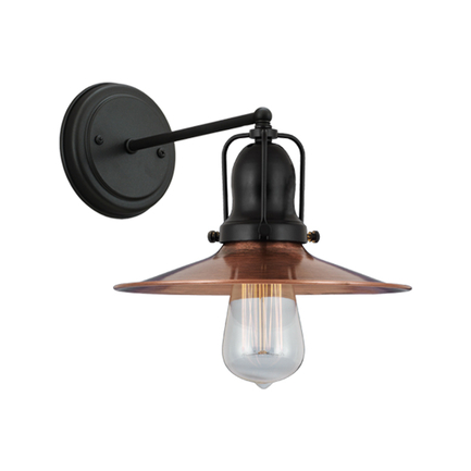 """9"""" shade in 49 weathered copper, M-1 arm, canopy, cap and key in 91 black finish"""