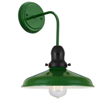 "10"" shade with M-6 arm and canopy in 140 mallard green, cap in 91 black"