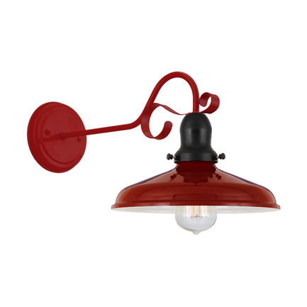 "10"" shade in 139 cranberry, cap in 91 black, M-2 arm and BM-1 canopy in 97 red"