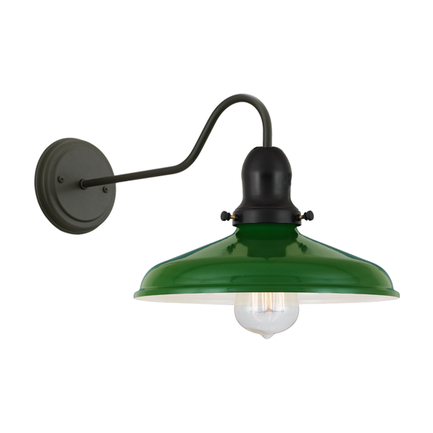 "10"" shade in 140 mallard green with cap, M-3 arm and BM-1 canopy in 91 black"