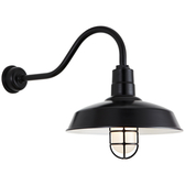 """16"""" Shade in 91 Black finish with HL-A gooseneck arm in 91 Black finish, CGU accessory with Frost Gl"""