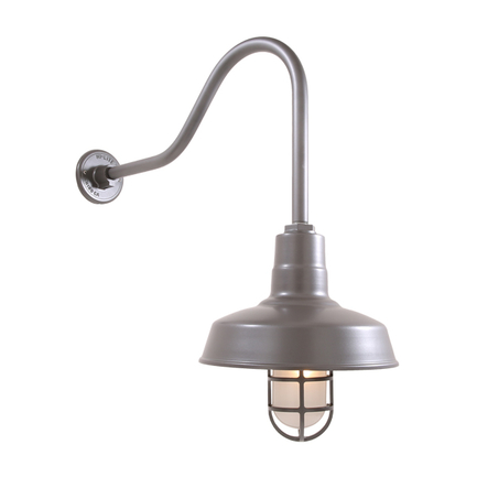 """14"""" shade with HL-H gooseneck arm in 117 Painted Steel finish, CGU accessory with Frost glass"""