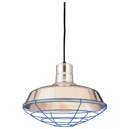 """16"""" shade in 98 Polished Aluminum finish with WGR accessory in 103 Blue finish, CB8 mounting"""