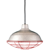 """16"""" RLM shade in 96 Galvanized finish with WGR accessory in 97 Red finish and CB8 mounting"""