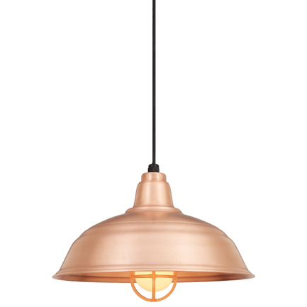 """16"""" RLM shade in 48 raw copper finish with CB8 mounting and cgu glass"""