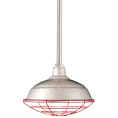 """17"""" RLM shade with ST3 in 96 Galvanized finished and WGR accessory in 97 Red finish"""