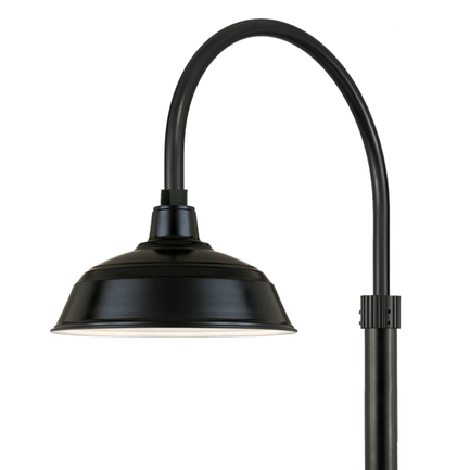 """17"""" shade with P-1 post arm and 3"""" diameter smooth pole in 91 Black finish"""
