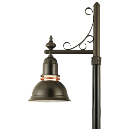 """16"""" shade with frost glass and P-19 arm in 119 bronze finish"""