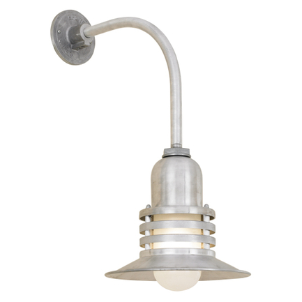 """10"""" shade with frost glass and HL-K arm in 102 raw aluminum"""