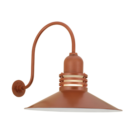 """22"""" shade with frost glass and HL-O arm in 113 metallic copper finish"""