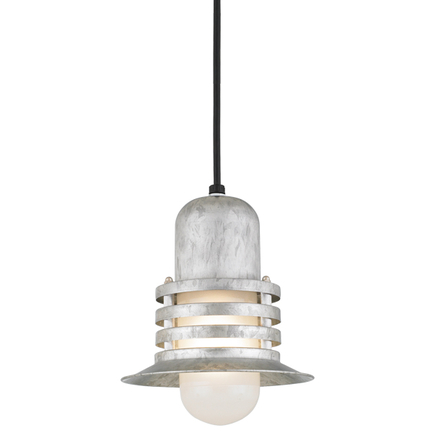 """8"""" shade with frost glass in 96 galvanized finish, 8 ft. black cord with 91 black canopy"""
