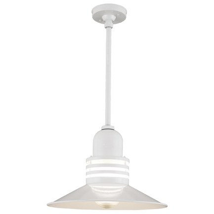 """18"""" shade with clear ribbed glass & 18"""" ST3 with HSC in 93 white finish"""
